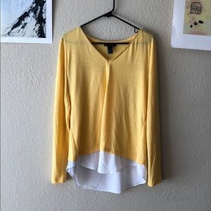 {White House Black Market} -L- yellow blouse
